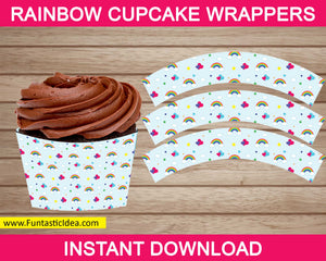 Rainbow Party Cupcake Wrappers