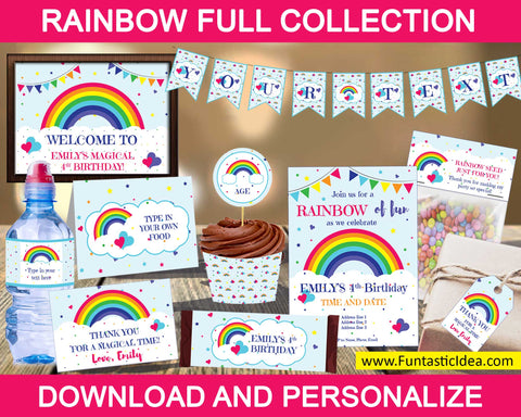 Rainbow Party Decorations Bundle