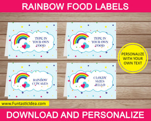 Rainbow Party Food Labels