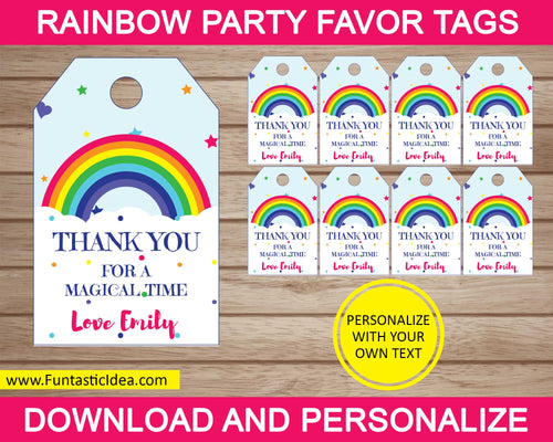 Rainbow Party Favor Tags