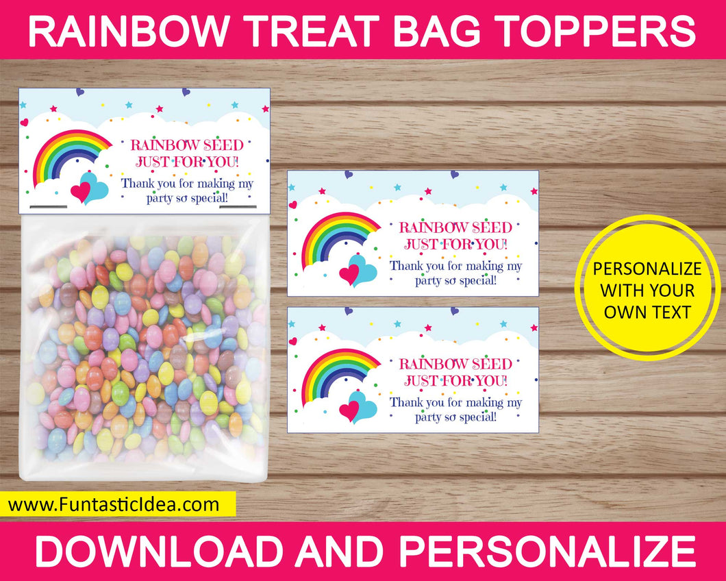 Rainbow Party Treat Bag Toppers