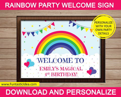 Rainbow Party Welcome Sign