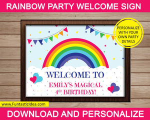 Rainbow Party Welcome Sign or Game Sign