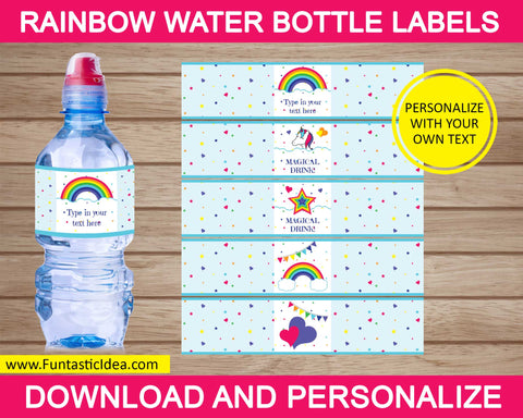 Rainbow Party Water Bottle Labels