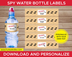 Spy Party Water Bottle Labels