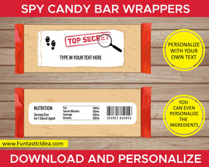 Spy Party Candy Bar Wrappers