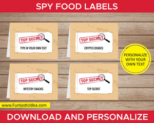Spy Party Food Labels
