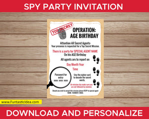 Spy Party Invitation with  Password