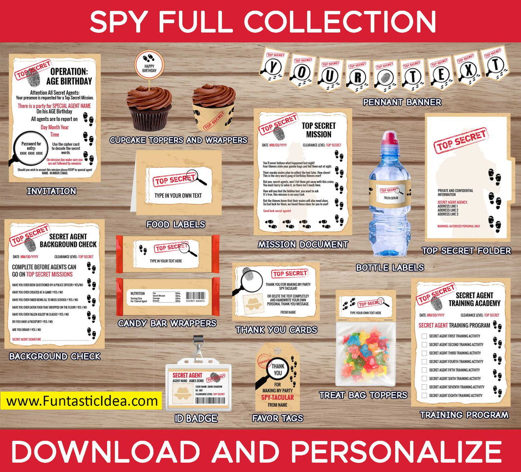 Spy Party Invitation and Decorations
