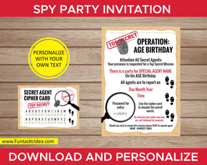 Spy Party Invitation With Party Password