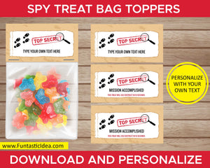 Spy Party Treat Bag Toppers