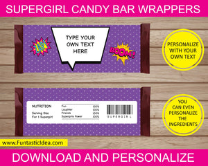 Supergirl Party Candy Bar Wrappers