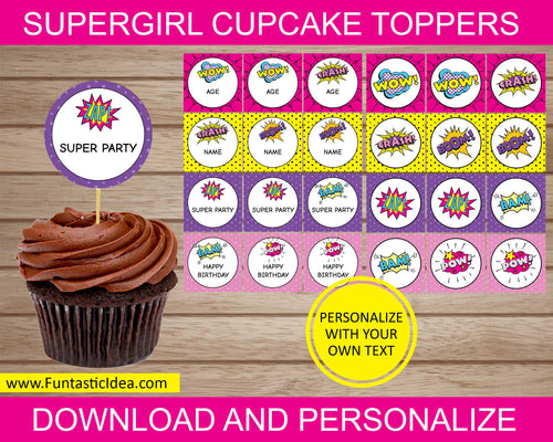 Supergirl Party Cupcake Toppers