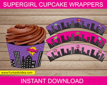 Load image into Gallery viewer, Supergirl Party Cupcake Wrappers