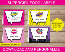 Load image into Gallery viewer, Supergirl Party Food Labels