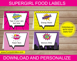 Supergirl Party Food Labels