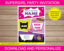 Load image into Gallery viewer, Supergirl Party Invitation