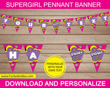 Load image into Gallery viewer, Supergirl Party Pennant Banner