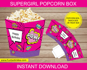 Supergirl Party Popcorn Box