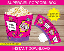 Load image into Gallery viewer, Supergirl Party Popcorn Box