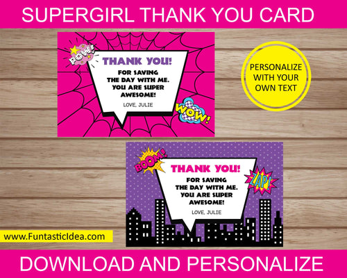Supergirl Party Thank You Cards