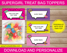 Load image into Gallery viewer, Supergirl Party Treat Bag Toppers