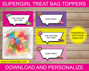 Supergirl Party Treat Bag Toppers