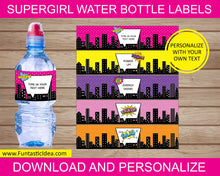 Load image into Gallery viewer, Supergirl Party Water Bottle Labels