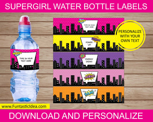 Supergirl Party Water Bottle Labels