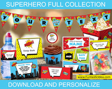 Load image into Gallery viewer, Superhero Party Invitation and Decorations