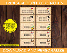 Load image into Gallery viewer, Treasure Hunt Party Clue Notes