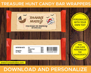 Treasure Hunt Party Candy Bar Wrappers