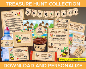 Treasure Hunt Party Invitation and Decorations
