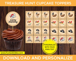 Treasure Hunt Party Cupcake Toppers