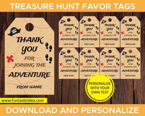 Treasure Hunt Party Favor Tags