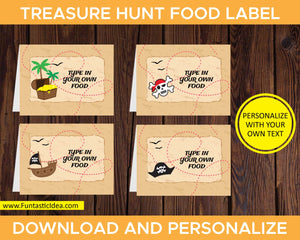 Treasure Hunt Party Food Labels