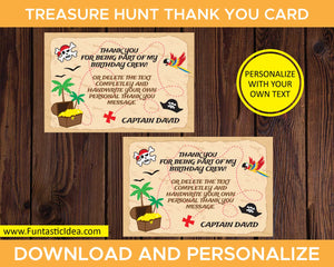 Treasure Hunt Party Thank You Card