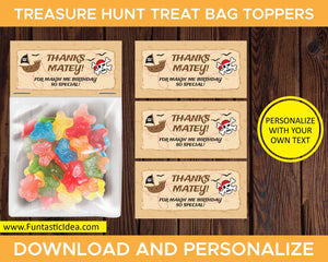 Treasure Hunt Party Treat Bag Toppers