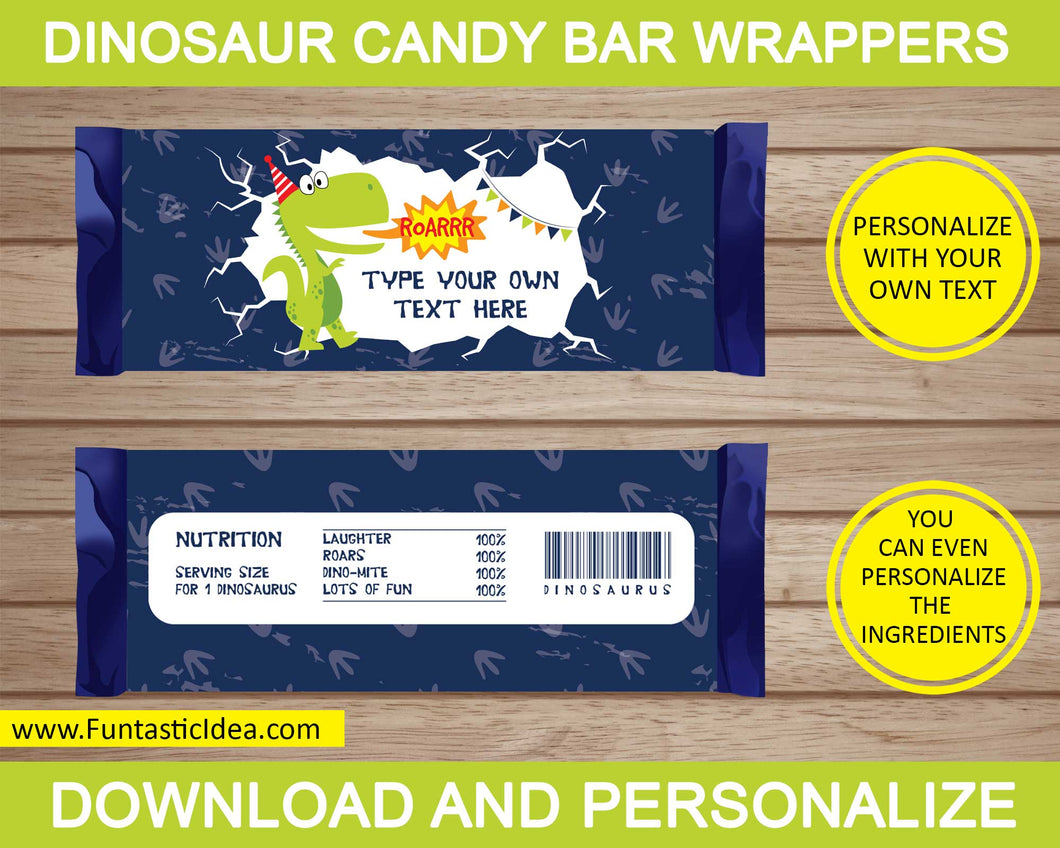 Dinosaur Party Candy Bar Wrappers