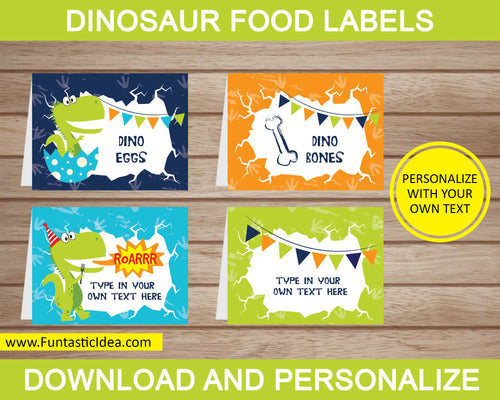 Dinosaur Party Food Labels