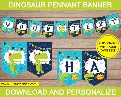 Dinosaur Party Pennant Banner