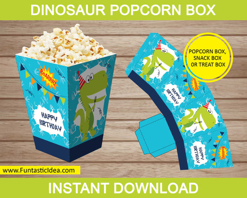 Dinosaur Party Popcorn Box
