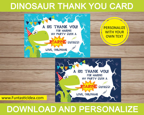 Dinosaur Party Thank You Cards
