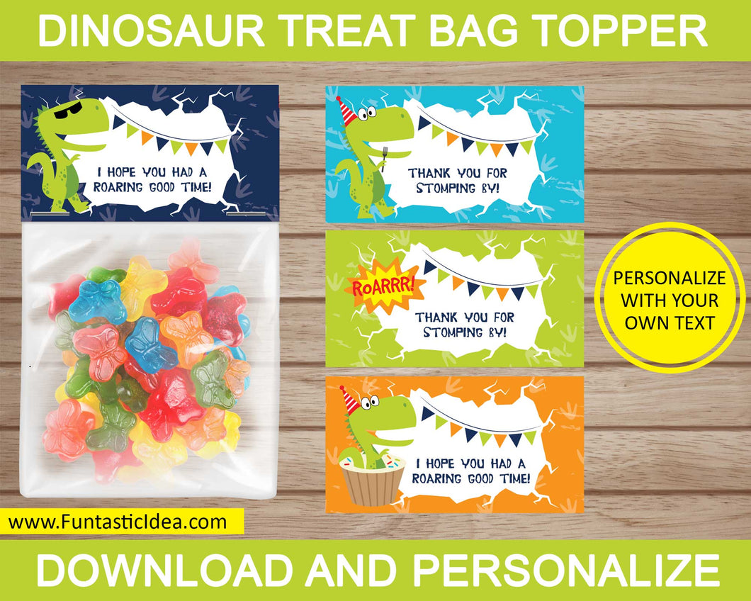 Dinosaur Party Treat Bag Toppers