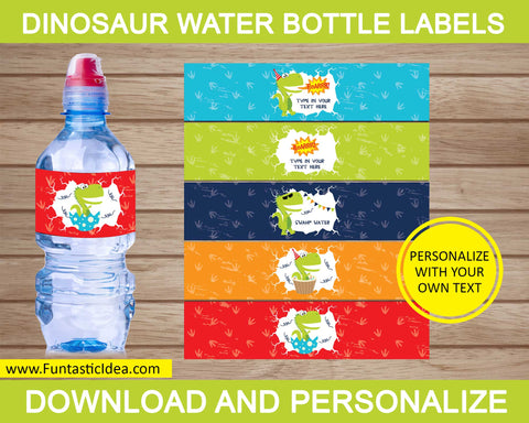 Dinosaur Party Water Bottle Labels