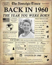 Load image into Gallery viewer, 60th Birthday Newspaper Poster Sign | Back in 1960 | Fully Editable