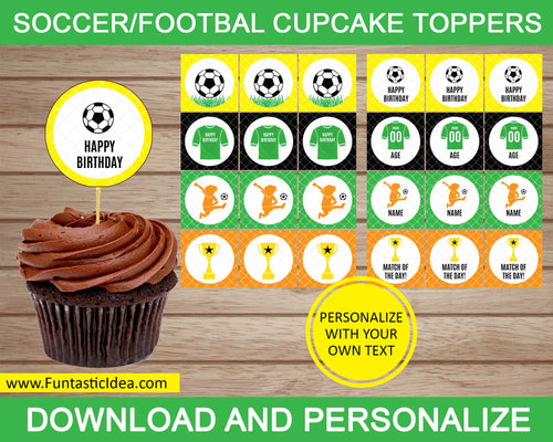 Soccer Party Cupcake Toppers