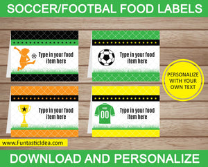 Soccer Party Food Labels