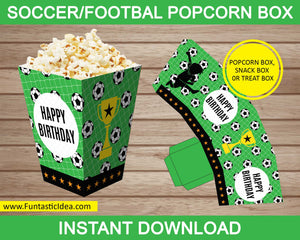 Soccer Party Popcorn Box