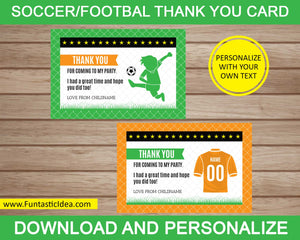 Soccer Party Thank You Card